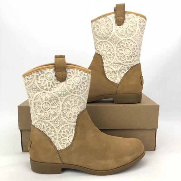 431ddcf58d6 UGG Dahlia Lace Girls 5Y Suede Kids Western Boots NWT